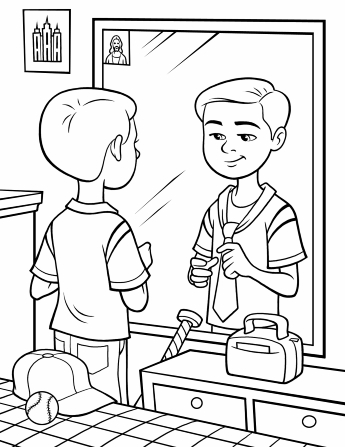 An illustration of a boy standing by his bed in front of a mirror, practicing tying a tie.