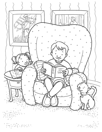 An illustration of a young boy sitting in a large armchair, reading his scriptures, with his sister peeking from behind the chair and his cat looking up at him.