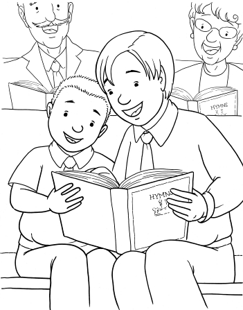 An illustration of two brothers sitting together in a pew in a chapel, singing from a hymnbook, with an elderly couple sitting behind them.