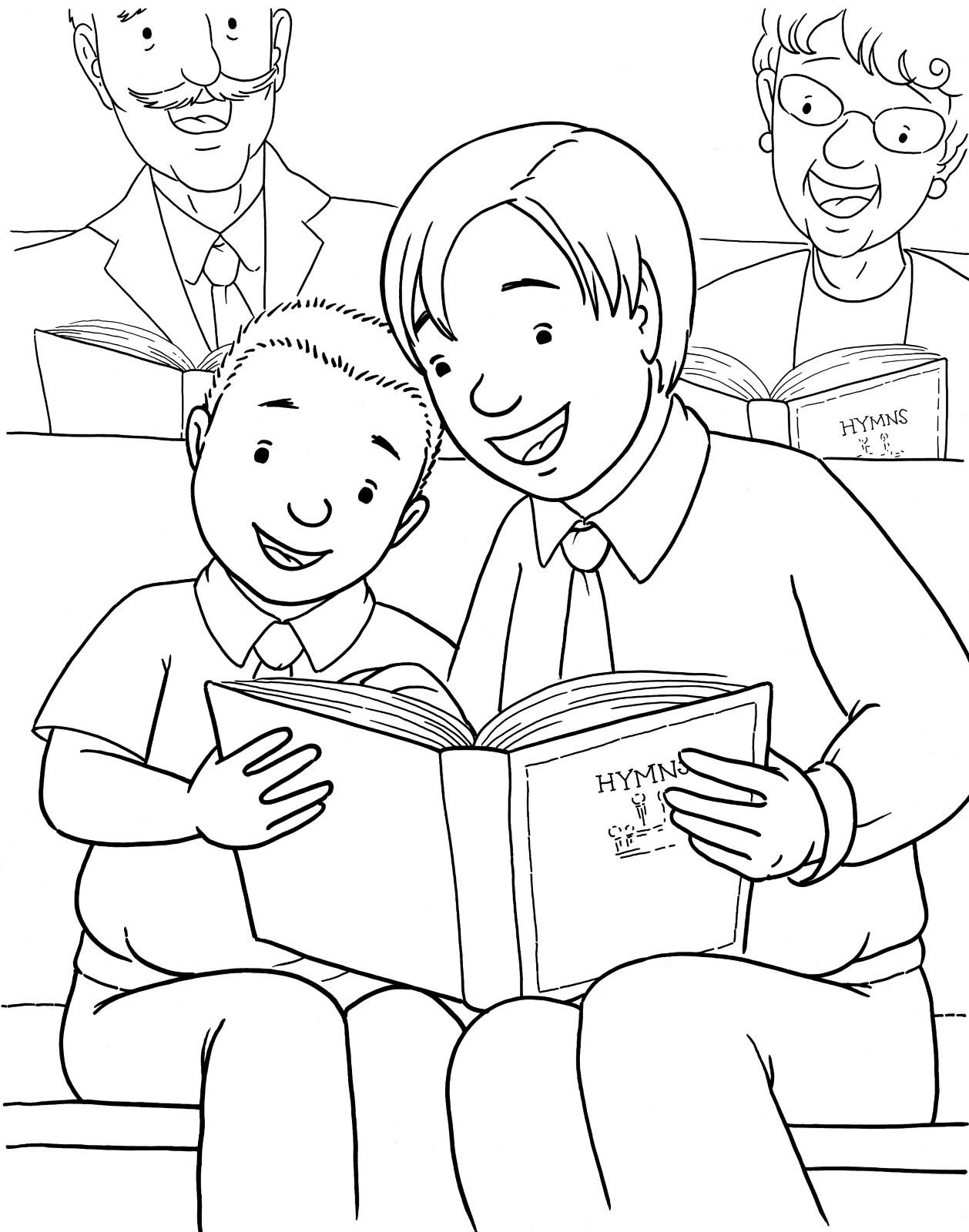 singing in church coloring pages-#4