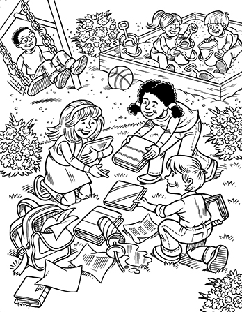 An illustration of two children helping a young girl clean up things that she has dropped near a playground where three other children are playing.