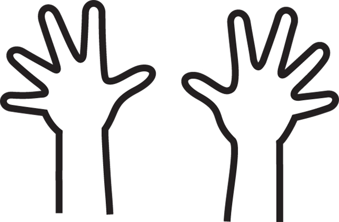 An illustration of two hands with fingers spread apart.