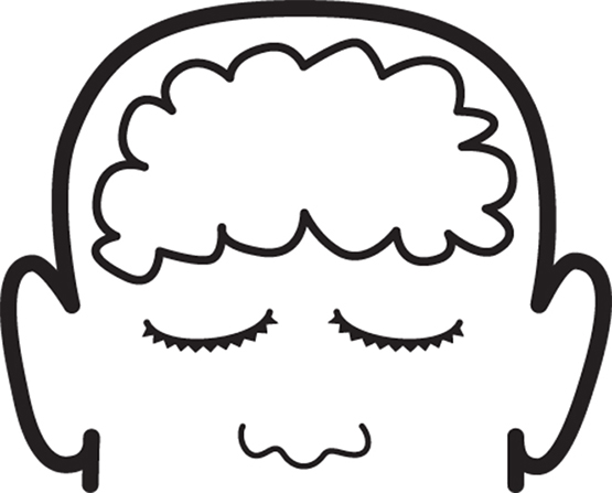 An illustration of a face with closed eyes and an outline of the brain in the forehead.