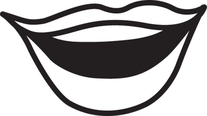 An illustration of a smiling mouth with lips and teeth.