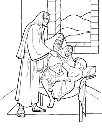 A black and white line drawing of Jesus Christ reaching out to help up a girl who He has raised from the dead.