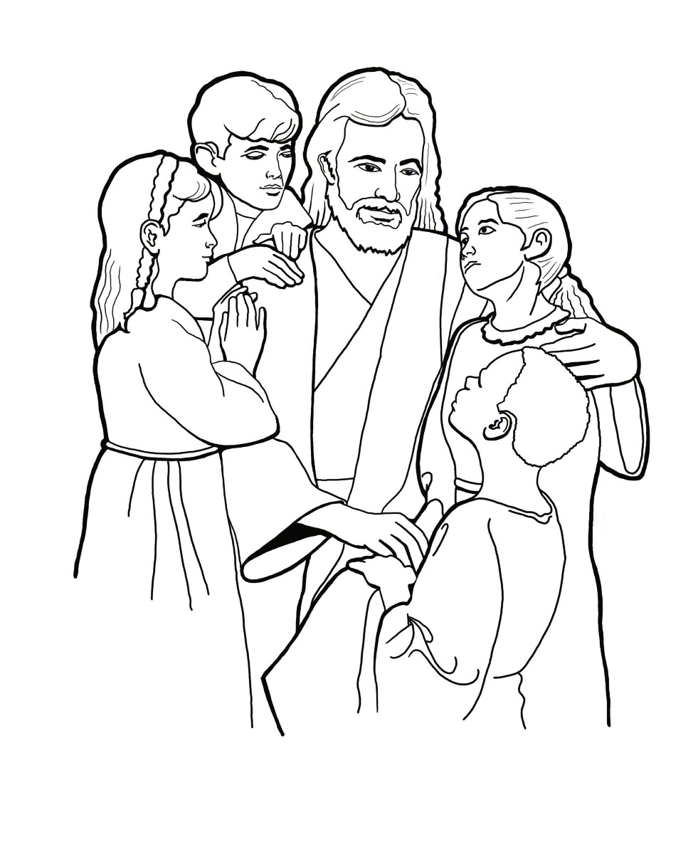 Christ with Children Coloring Page