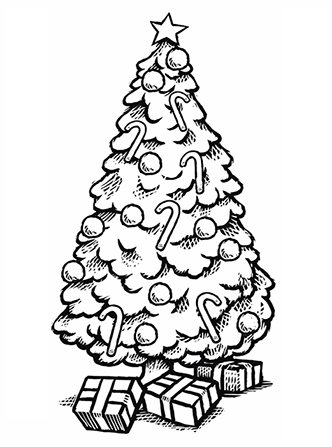 A black-and-white line drawing of a decorated Christmas tree with three wrapped gifts underneath it.