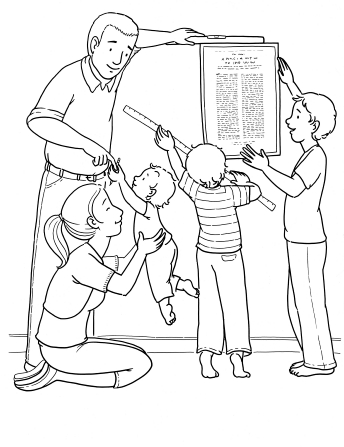 """An illustration of a father and his two sons hanging """"The Family: A Proclamation to the World"""" on the wall while the mother and baby sit on the floor."""