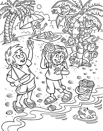 An illustration of a young boy and girl playing with a toy boat on the beach.