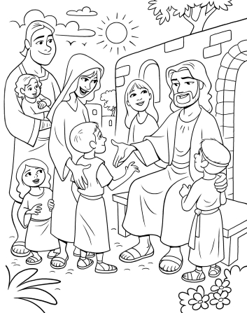 An illustration of Christ sitting on a bench and greeting five children with their parents standing behind them.