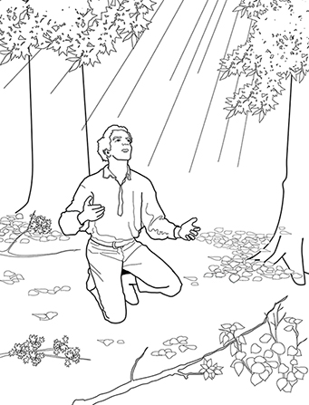 An illustration of Joseph Smith kneeling, praying, and looking up at a pillar of light shining through a grove of trees.