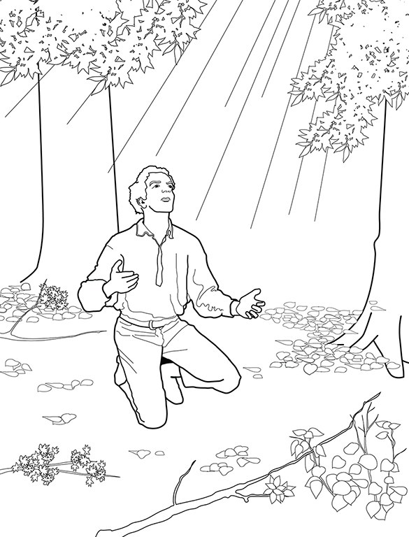 Joseph smith s first prayer for First vision coloring page