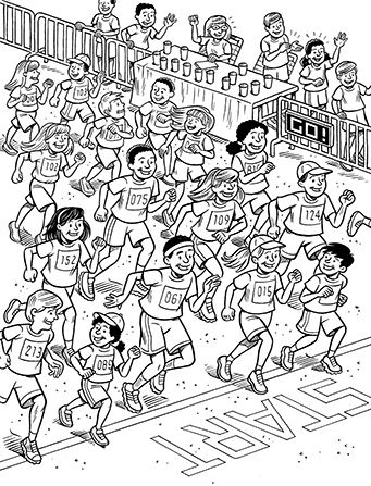 An illustration of 20 or so people running over the start line at the beginning of a race.