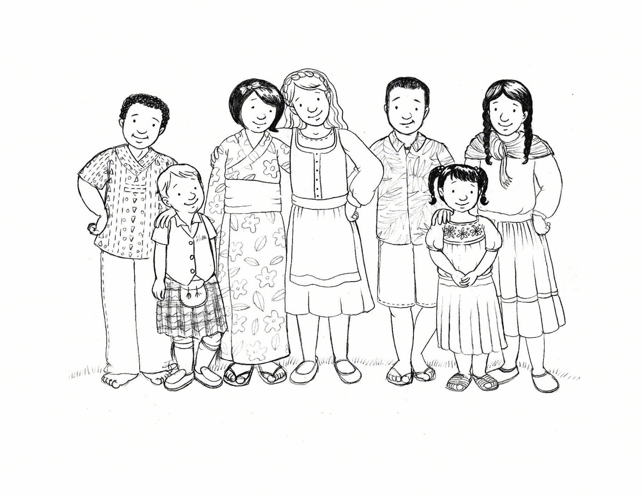 Line Art People : People in traditional clothing
