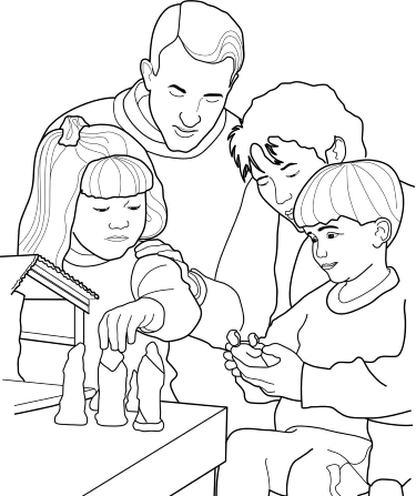 An illustration of a mother and father kneeling by a table and putting up a Nativity scene with their son and daughter.