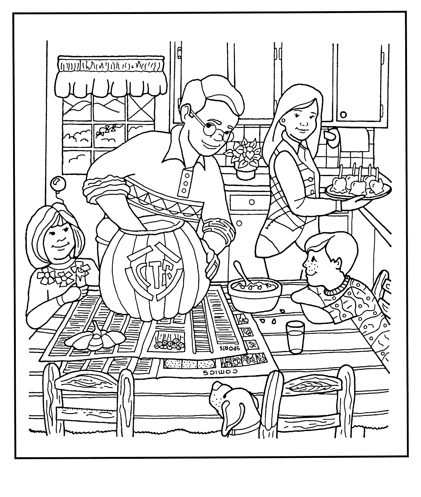 Pumpkin carving for Ctr coloring page lds