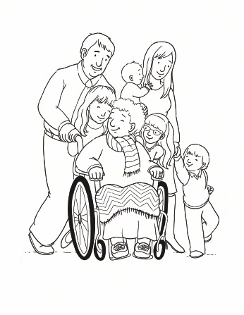 An illustration of a father and daughter pushing a wheelchair with their grandmother in the chair and the rest of their family walking beside them.