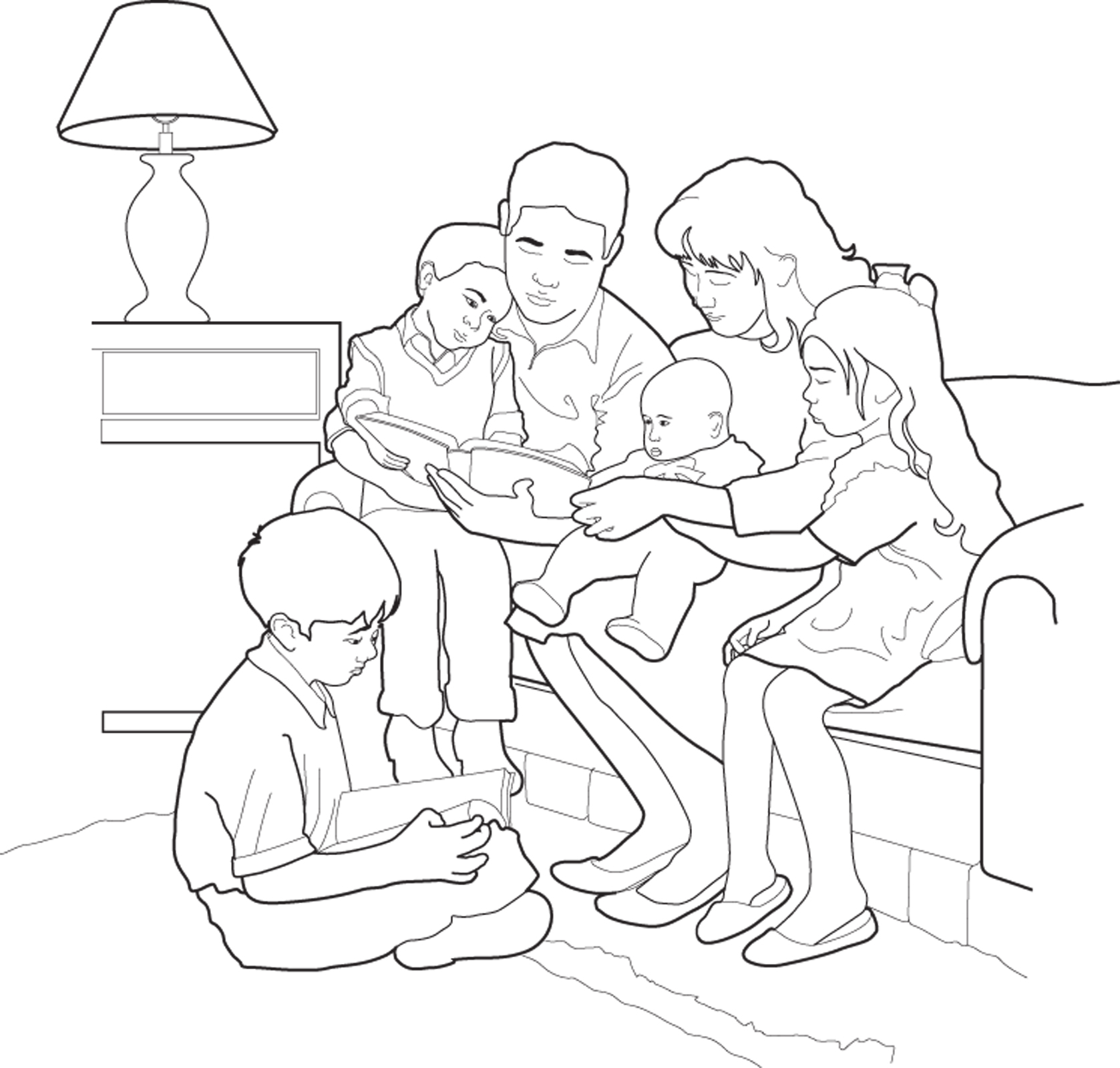 lds prayer coloring page - family home evening