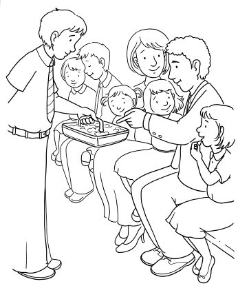 An illustration of a boy standing up and passing the sacrament to a family in a chapel.