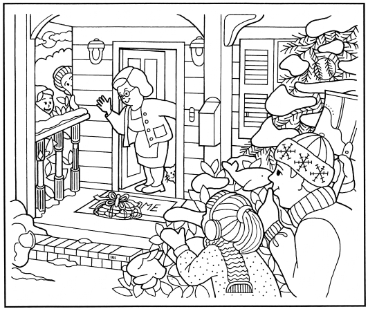 A coloring page of people hiding around a house, watching an elderly woman find a package of cookies on the porch.