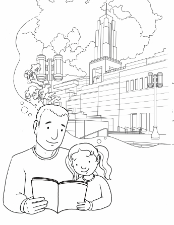 An illustration of a father and daughter reading from a Church magazine together, thinking about the Conference Center in Salt Lake City, Utah.