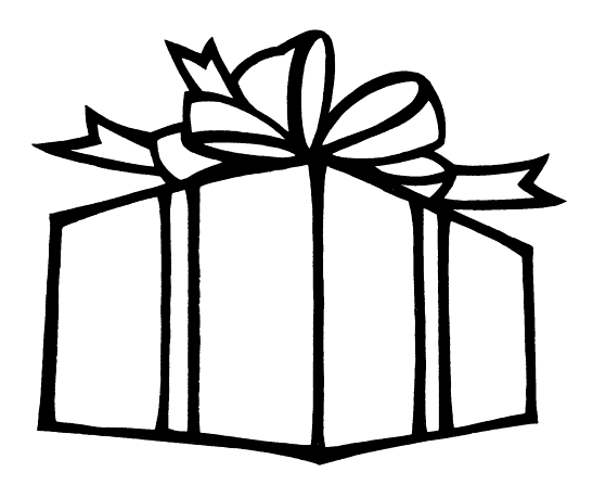 A coloring page of a large Christmas present with a bow on top.