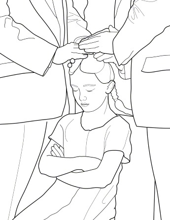 An illustration of a little girl with braids getting a priesthood blessing with two men's hands on her head.