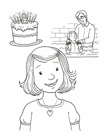 An illustration of a girl smiling, with an image of a cake with candles and an image of her being baptized by her father.