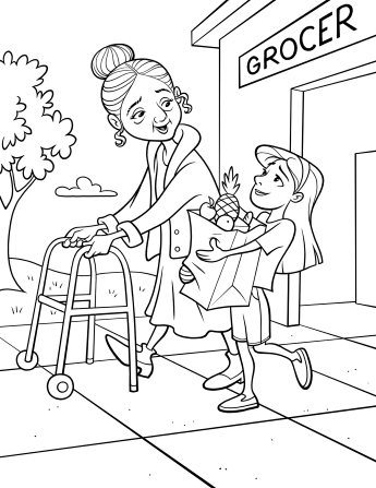 An illustration of a little girl carrying a bag of groceries for an elderly woman, who is walking next to her with a walker.