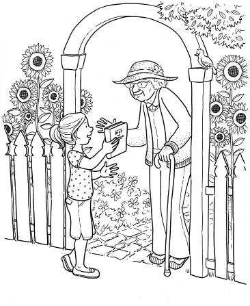 An illustration of a girl handing a copy of the Book of Mormon to an elderly woman walking with a cane in a sunflower garden.