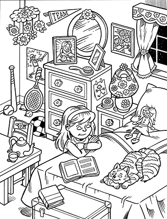 An illustration of a young girl kneeling by her bed at night amid sporting equipment and toys.