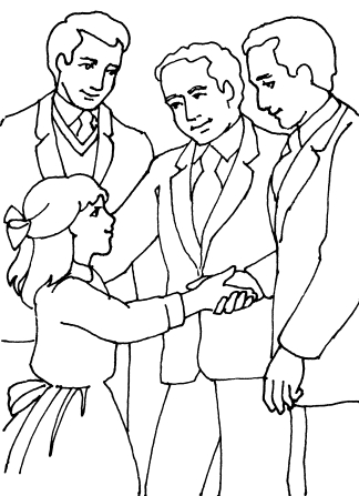An illustration of a young girl shaking hands with a priesthood leader, with two other leaders standing nearby.