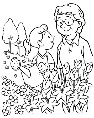 An illustration of a grandmother and her granddaughter watering flowers with a watering can.