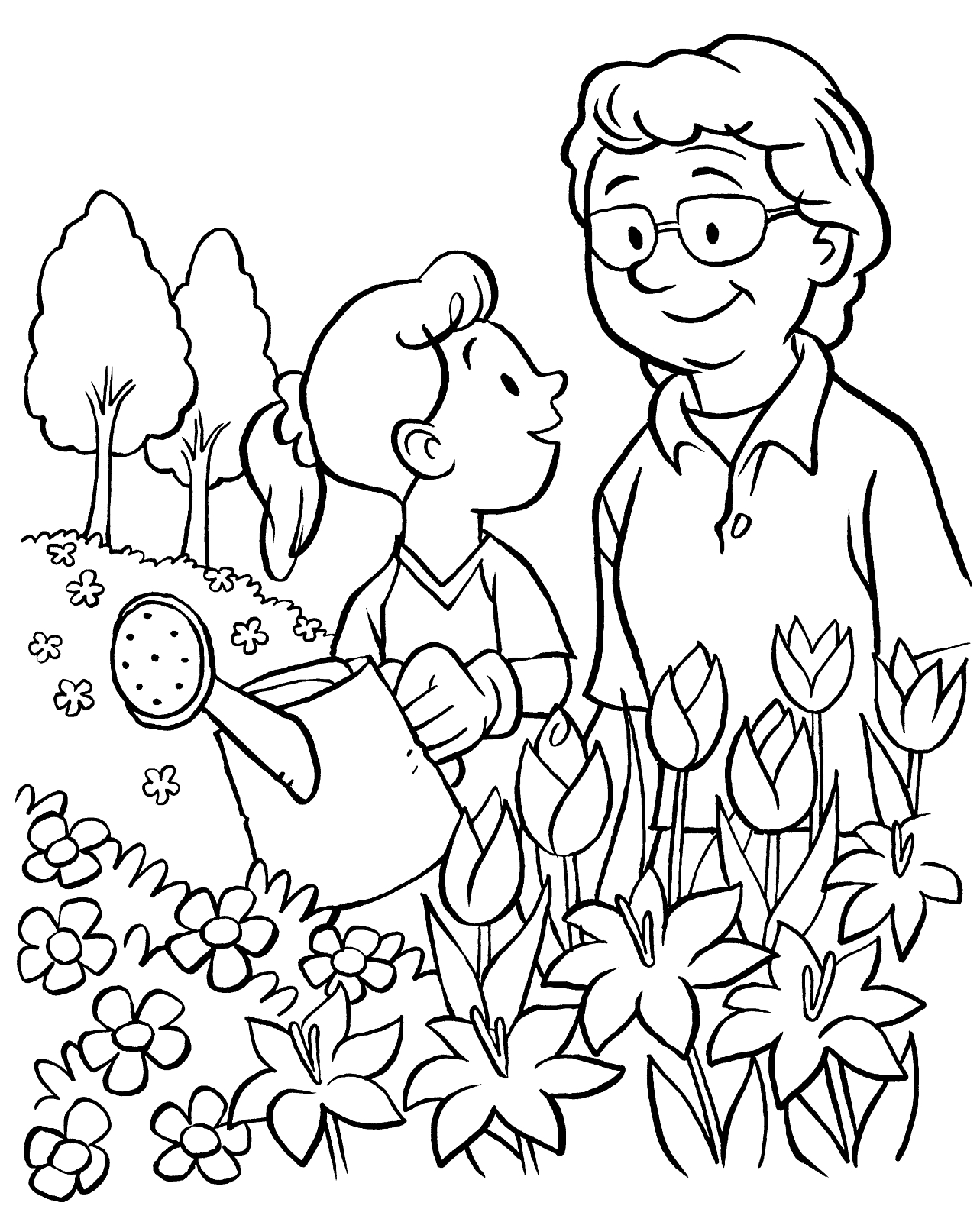 Watering the garden for Flower garden coloring page