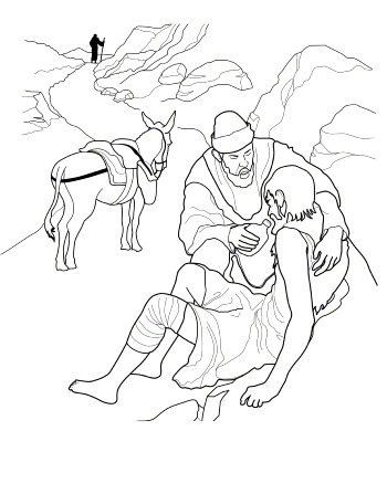 An illustration of the Bible story about a good Samaritan who stops to help a man who was robbed and left injured on the side of the road.
