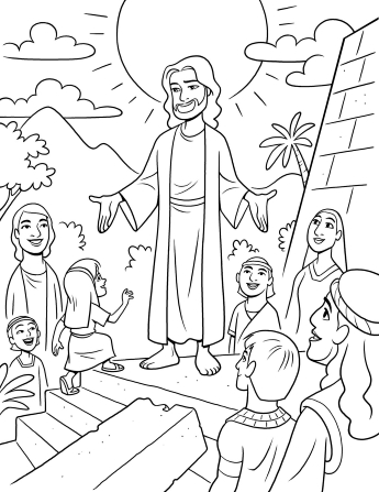 An illustration of Christ visiting the Nephites in the Americas after His Resurrection, as told in the Book of Mormon.