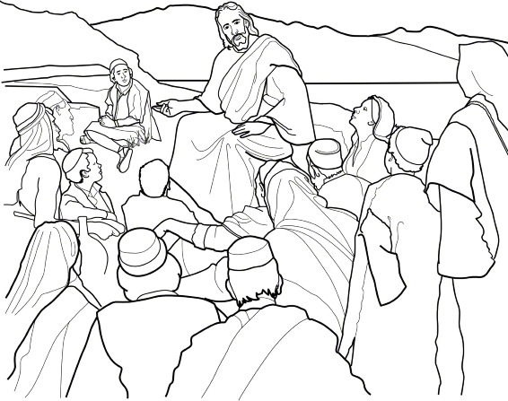 A black and white line drawing of Jesus Christ sitting on a hill, talking to a group of people who are sitting around Him.