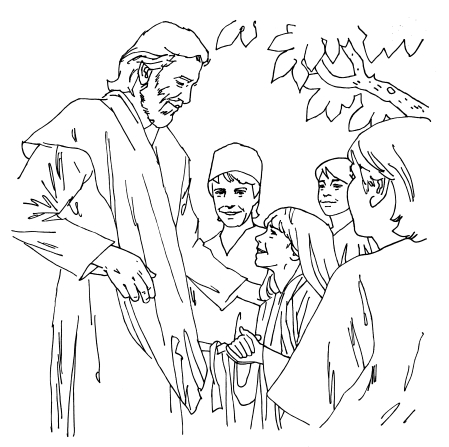 An illustration of Jesus Christ standing and speaking with four children gathered around Him outside.