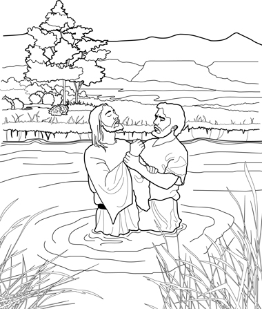 A black and white line drawing depicting John the Baptist baptizing Christ in the River Jordan, with large trees in the background.