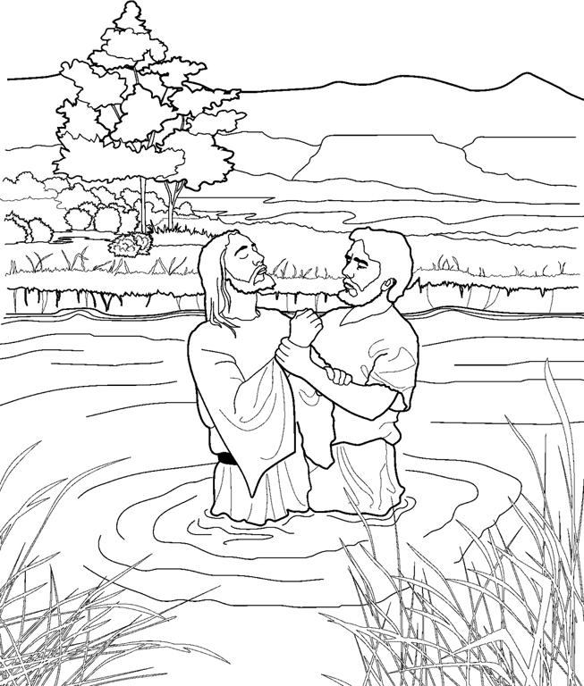 Página para colorear, Juan bautiza a Jesús