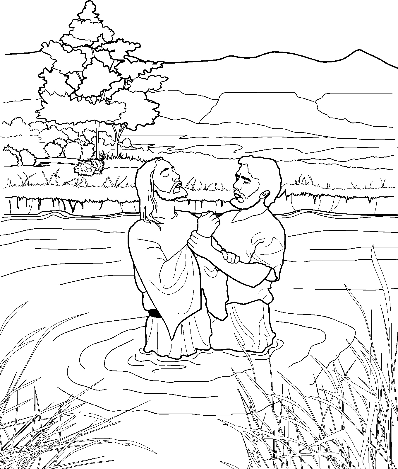 black and white bible coloring pages | John Baptizing Jesus Coloring Page