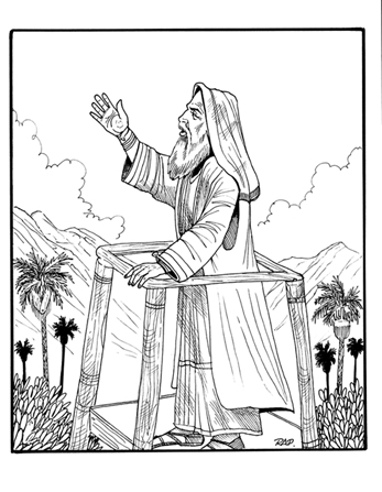 An illustration of King Benjamin standing on a tower and preaching to his people with one arm raised in the air.