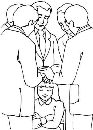 An illustration of a girl sitting in a chair with her eyes closed and arms folded, receiving a priesthood blessing from five priesthood holders.