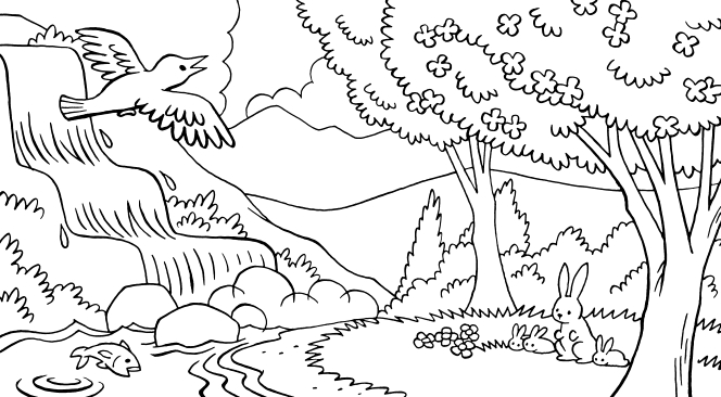 A nature scene with a waterfall, a stream, trees, birds, fish, rabbits, and clouds above.
