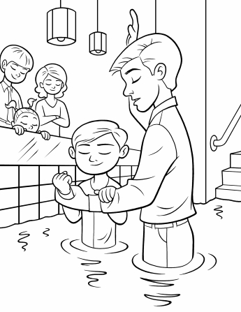 An image of a father baptizing his son in a baptismal font, with a boy, girl, and woman standing beside the font and closing their eyes in reverence.