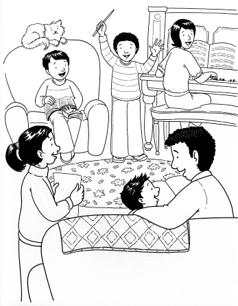 An illustration of a family of six sitting in a living room and singing together during a family home evening, with their mother playing the piano.