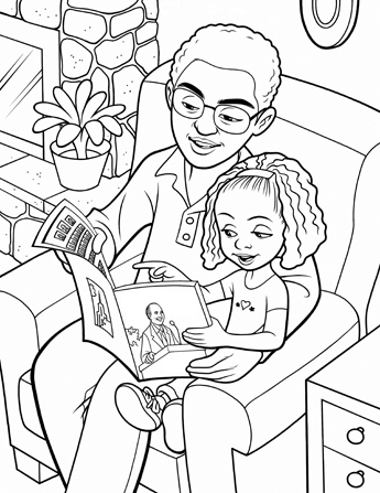 An illustration of a father sitting in a large armchair with his daughter, reading through the general conference issue of the Ensign.