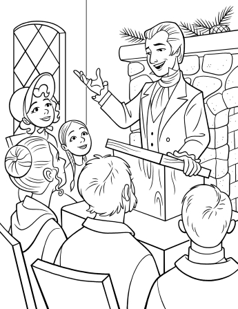 An illustration of Joseph Smith preaching to a small congregation of people from a pulpit in a meetinghouse.