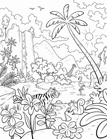 An illustration of a jungle scene with a waterfall, large palm trees, a giraffe, a flamingo, a tiger, and a squirrel.