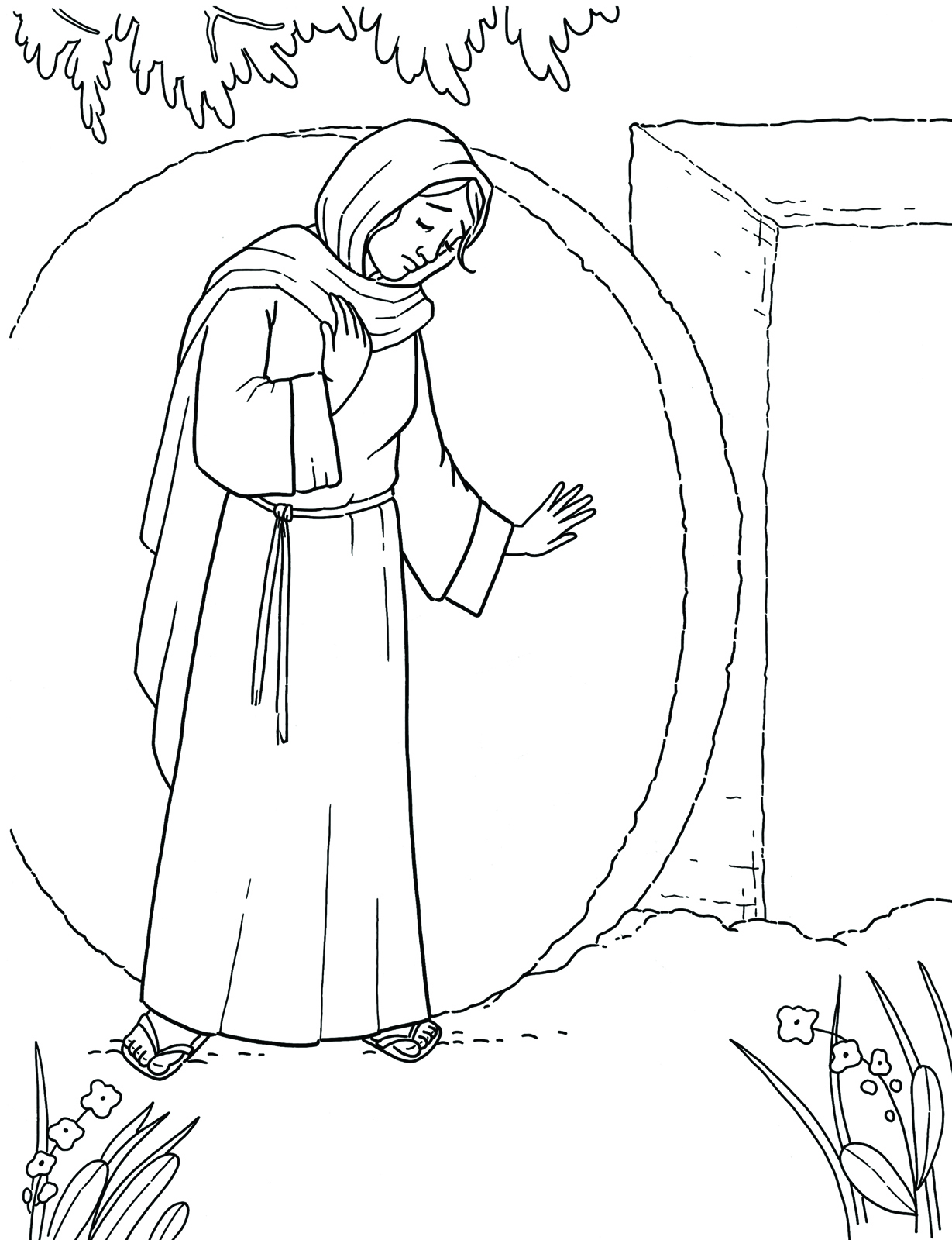 Mary at the tomb for Jesus empty tomb coloring pages